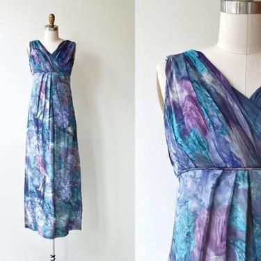 Sea Nymph silk dress   1960s maxi dress   long silk 60s hostess dress by DEARGOLDEN