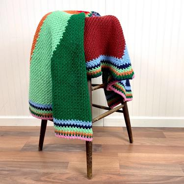 Round crochet afghan of many colors - vintage handmade throw by NextStageVintage