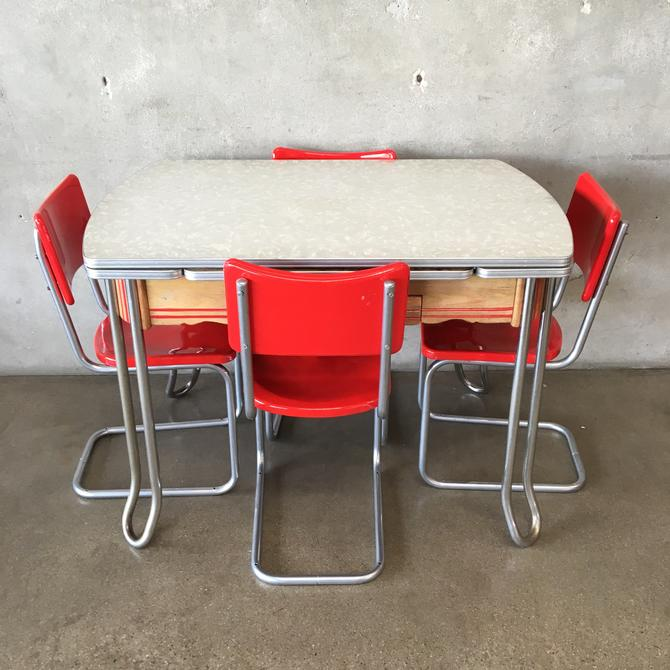 1950's Formica Top Table with Four Red Chairs