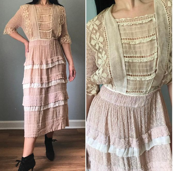 Antique Edwardian Rose Eyelet Tea Dress by SpeakVintageDC