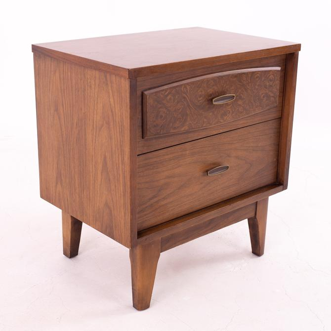 Lenoir House Burlwood Mid Century Brass and Walnut 2 Drawer Nightstand - mcm by ModernHill