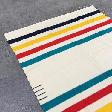 Vintage Trapper Point Blanket 1960s Retro Size 89x73 Wool + 4 Point + Primary Colors + Striped + Made in England + Bedding Textile and Decor by RetrospectVintage215