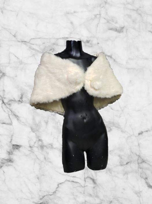 Vintage Fur Stole, Snowy White Rabbit Fur Cape, 1950s 1960s Fur Shawl, Hollywood Glamour Capelet Wrap, Wedding Stole, Vintage Clothing by AGoGoVintage