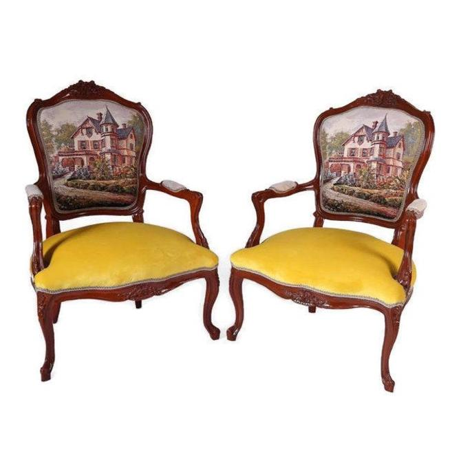 FRENCH LOUIS XVI Chairs. Bergere Armchairs, Velvet, (Set of 2) by 3GirlsAntiques