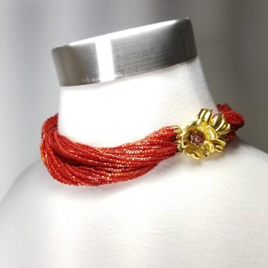 Vintage Red Seed Bead Necklace ~ Vintage Christmas Jewelry Chocker Necklace ~ Multi Strand Necklace ~ Flower Clasp ~ Vintage Costume Jewelry by SoughtClothier