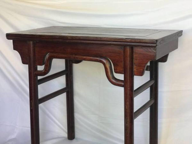Traditional Chinese Elm Wood Console Hall Sealed Lacquered Table Stand by BigWhaleConsignment