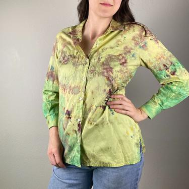 Chartreuse Green Ice Dyed Vintage Button up Blouse // Hand Dyed Liz Claiborne // Size Small by SonjloVintage