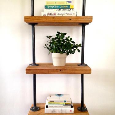 The MERCER Bookshelf - Reclaimed Wood Tall Bookshelf - Reclaimed Wood & Pipe Shelf by arcandtimber