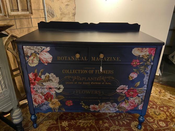 Beautiful navy floral dresser, dark blue dresser, navy floral entryway table, refurbished furniture, shabby chic dresser by PeoplewillStare