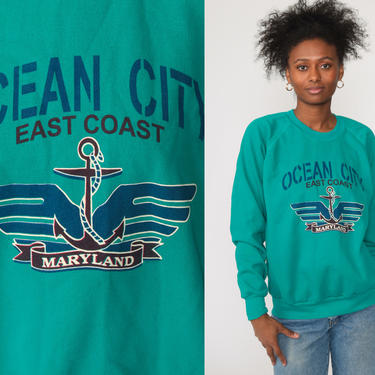 Ocean City Maryland Sweatshirt -- 90s Crewneck Sweatshirt Green Graphic Sweater Shirt Slouchy 80s Travel Raglan Pullover Extra Large xl by ShopExile