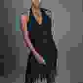 Black Sequin Halter Dress w/ Fringe