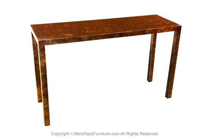 Mid Century Modern Lane Faux Tortoise Shell Parsons Console Table by Marykaysfurniture