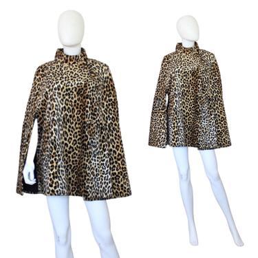 1960s Leopard Print Cape - 60s Faux Leopard Cape - Vintage Leopard Cape - Vintage Leopard Print Coat -  Faux Fur Cape   Size Small / Medium by VeraciousVintageCo