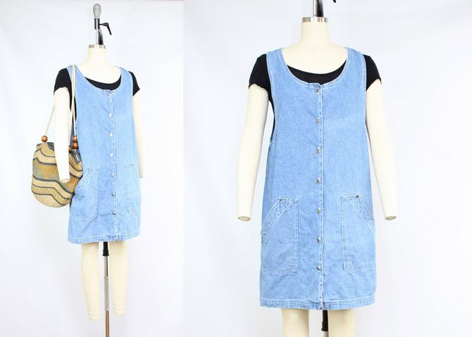 Vintage 90's Denim Button Front Jumper Dress / 1990's Blue Jean Dress with Pockets / Minimalist / Women's Size Medium - Large by RubyThreadsVintage