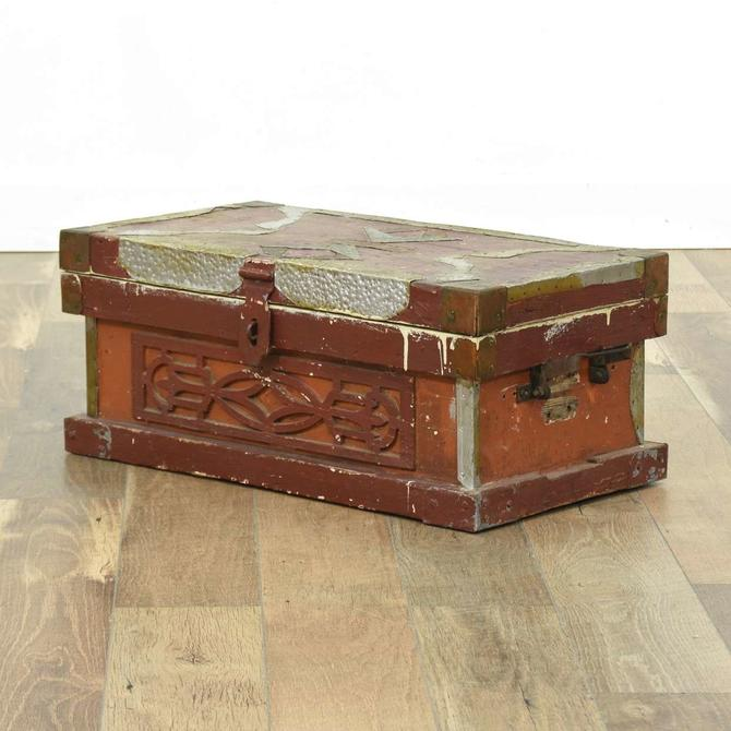 Antique Folk Art Hope Chest W Metal Work Detail