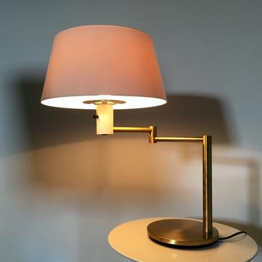 Rare Vintage Gerald Thurston For Lightolier Mid Century Modern Brass Swing Arm Table Desk Lamp by 20cModern