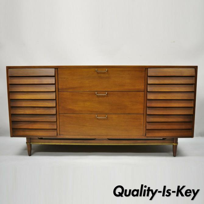 Merton Gershun American of Martinsville Walnut Louvered Credenza Cabinet Dresser