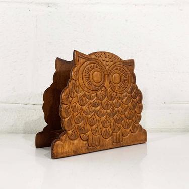Vintage Wood Owl Napkin Holder Wooden Mid-Century Kitchen Retro Kitsch Owls Letter Mail 1970s by CheckEngineVintage