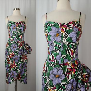 Vintage Eighties Rafferty Tropical Print Pin-up Dress - 80s Small Faux Wrap Birds of Paradise Print by JanetandJaneVintage