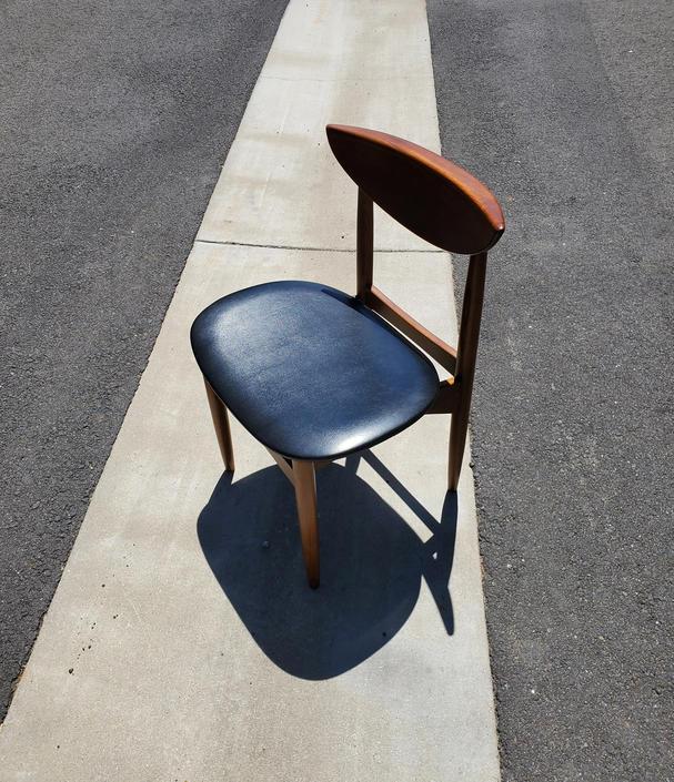 Mid Century Modern Black Walnut Desk Chair Lane Perception Black Vinyl Cushioned Seat Bowed Back Rest Dining Chair Teak Side Chair Altavista by MakingMidCenturyMod