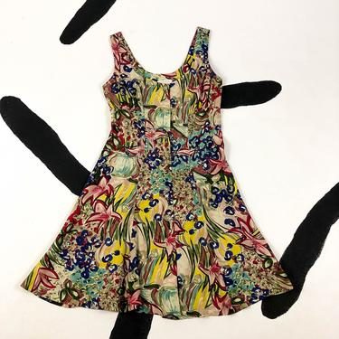 90s Anna Sui Floral Painted Print Rayon Tank Dress / Button Front / Size 6 / Grunge / Abstract / Skater / Gathered Bust / Medium / 1990s by badatpettingcats