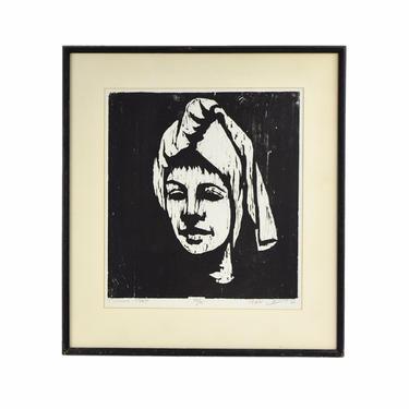 1964 Mid-Century Modern Japanese? Woodblock Print Woman Head Scarf signed #'d by PrairielandArt