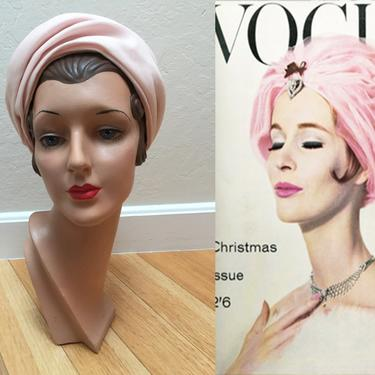 Slow Deep Breaths - Vintage 1960s Pale Pink Nylon Turban Cloche Beehive Pill Box Hat by RoadsLessTravelled2