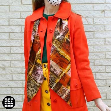 Rad Vintage 60s 70s Brown Pink Yellow Brutalist Hatch Mark Patterned Thin Long Scarf by RETMOD