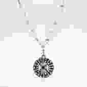 Old World Sapphire, Diamond, & Hematite Round Charm