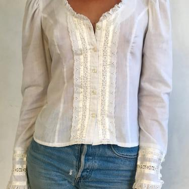 Vintage GUNNE SAX 70s Cream Eyelet Lace Ribbon Blouse - 1970s Puff Long Sleeve Fitted White Jessica's Gunnies Cotton Cottage Shirt by LittleSparkVintage