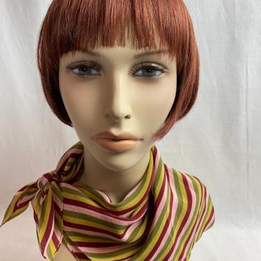 Beautiful silk scarf~ vintage striped versatile neck tie, hair band~ necker chief bib bonnet~ 1960's timeless scarves by HattiesVintagePDX