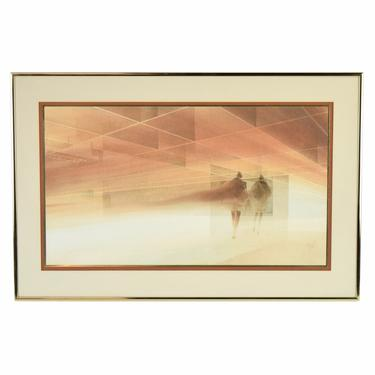 Vintage 1977 Mid Century Modern Painting Geometric Architectural Interior W Figures by PrairielandArt