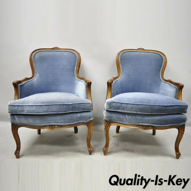 Vintage French Louis XV Provincial Blue Bergere Lounge Arm Chairs - a Pair