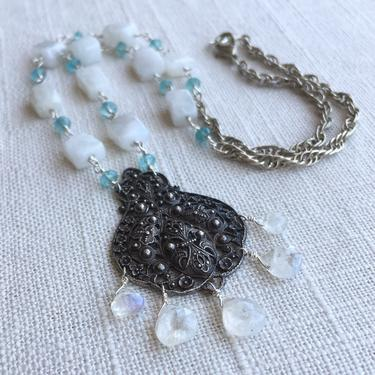Moonstone Melody [assemblage necklace: moonstone, apatite, vintage pendant & chain] by nonasuch