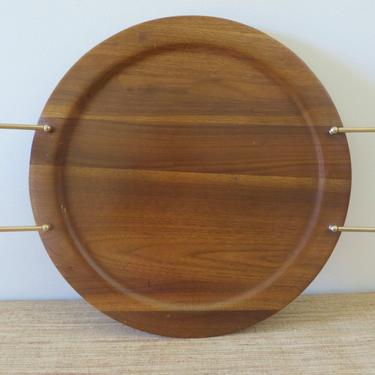 Mid Century Tray - Vintage Teak Tray - Round Teak Wood Serving Tray - Atomic Style Brass and Wood Handles by SoulfulVintage