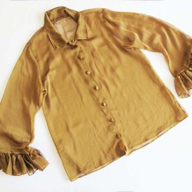 Vintage 90s 2000s Semi Sheer Blouse Large - 2000s Y2k Yellow Gold Button Up Blouse - Wide Ruffle Sleeve Blouse - Sheer Long Sleeve Baggy by MILKTEETHS