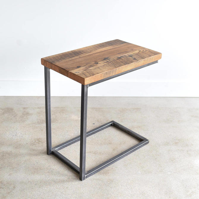 Reclaimed Wood C Table / Industrial Box Frame Side Table / C Metal Base by wwmake