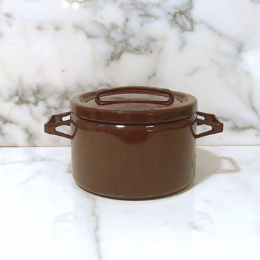 Vintage Mid Century Modern Enamelware Seppo Matte of ARABIA of Finland Brown Enamel Metal Pot with Lid like Kobenstyle Finnish Design MCM by SwankyChaperooo