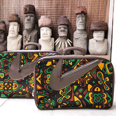 Rare set of 2 MOD Suitcases | Vintage 1960s 1970s Hawaiian Tiki Oasis Luggage | Hippie Boho | Barkcloth Design Tote Travel Bags | MINT NOS by elliemayhems