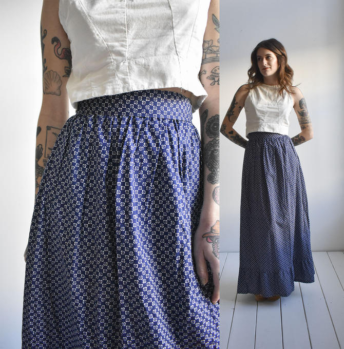 Long Vintage Cotton Calico Skirt by milkandice