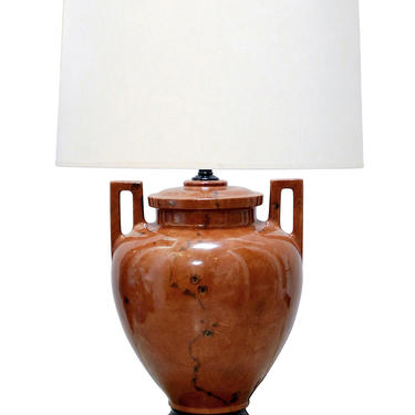 Large-scaled Faux-burl Ceramic Double-handled Urn-form Lamp
