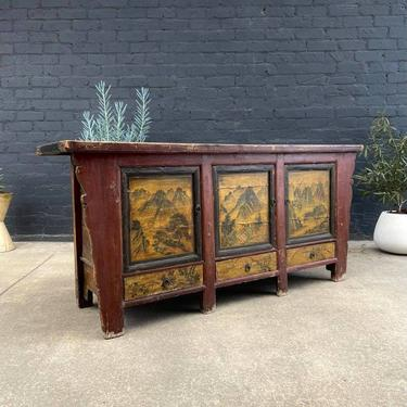 Chinese Hand Painted Credenza Buffet, c.1960's by VintageSupplyLA