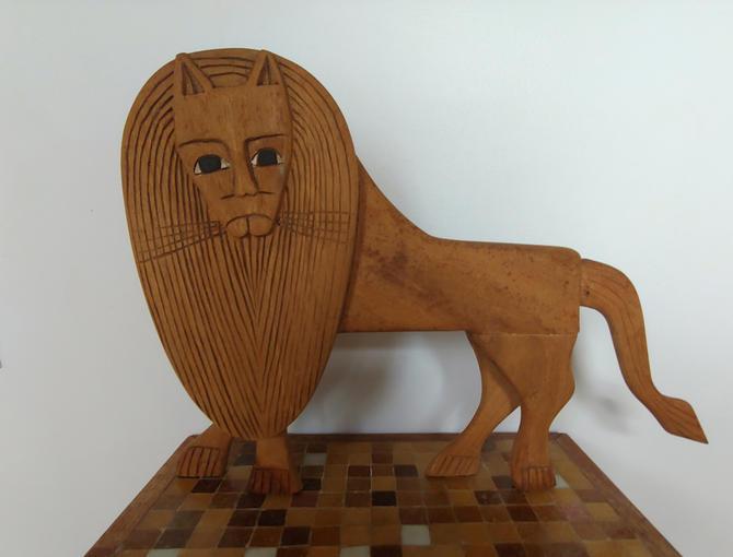 Vintage Folk Art Hand Carved Wood Lion Sculpture by ModandOzzie