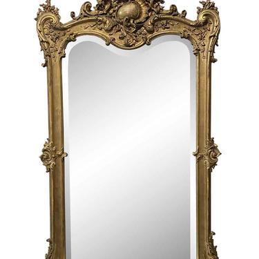 European Gesso & Hand Carved Gilt Wood Beveled Glass Mirror