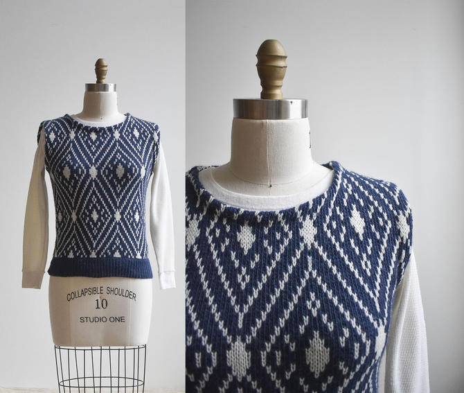 Vintage Blue & White Knit Sweater Vest by milkandice
