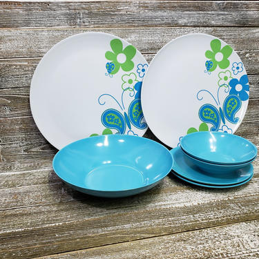 Vintage Plastic Melamine Dishes, Blue & White Dinnerware, Butterfly Flowers Melmac Dish Set, 1970's Retro Kitchen Decor, Vintage Kitchen by AGoGoVintage