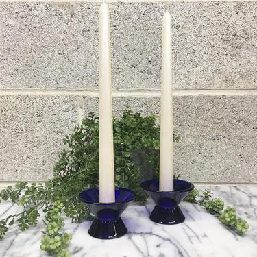 Vintage Candlestick Holders Retro 1990s Kaj Frank + IIttala + Finland + Glass + Taper Candle Holder + Cobalt Blue +  Set of 2 Matching by RetrospectVintage215