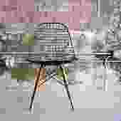 Rare Eames Wood Dowel Leg Wire Chair