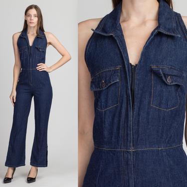 90s Does 70s Denim Jumpsuit - Petite XS to Small | Vintage Dark Wash Zip Up Split Flared Leg Pantsuit by FlyingAppleVintage