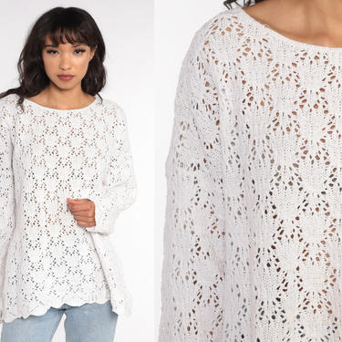 90s Crochet Sweater Sheer White Pullover Boho Open Weave Vintage Cutwork Cut Out Knit 1990s Hippie Bohemian Cotton Small Medium Large by ShopExile